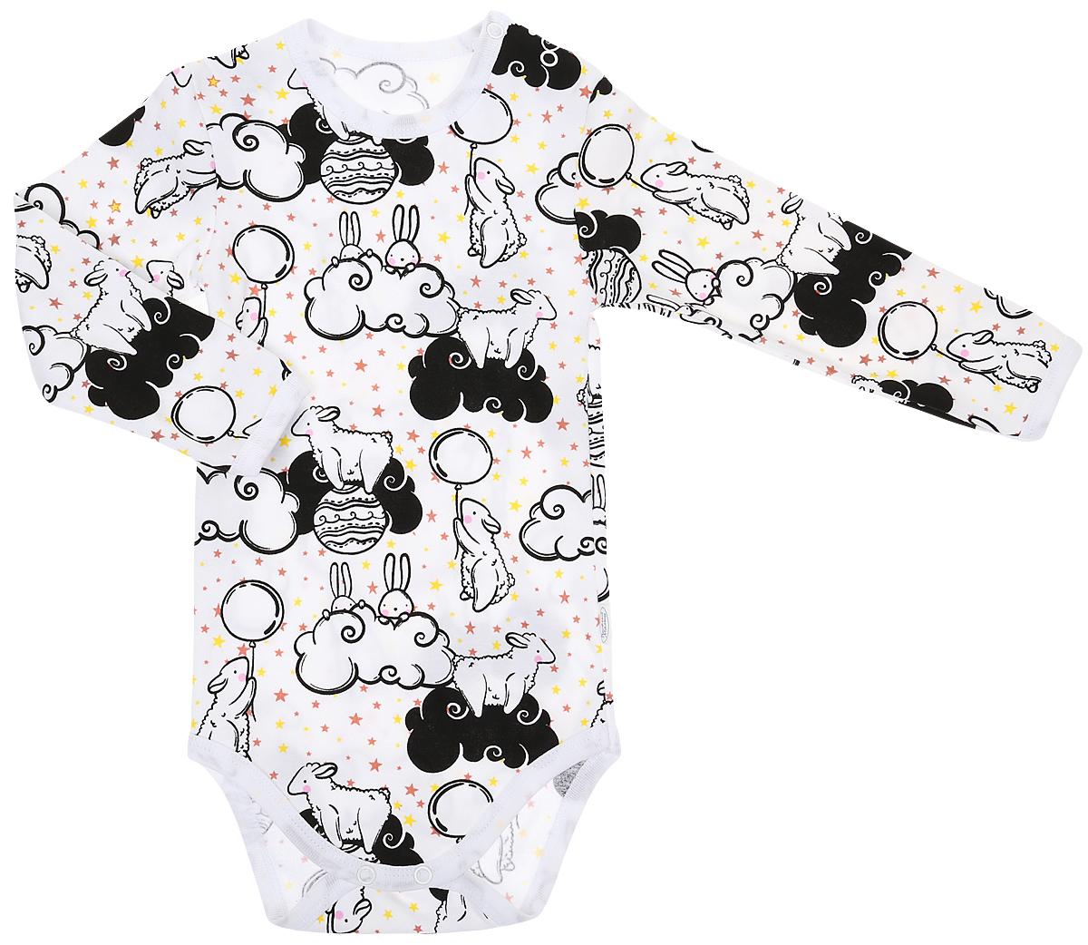 Комбинезон домашний детский Веселый малыш One, цвет: черный, белый. 46152/One-F (1)_зайцы в облаках. Размер 86