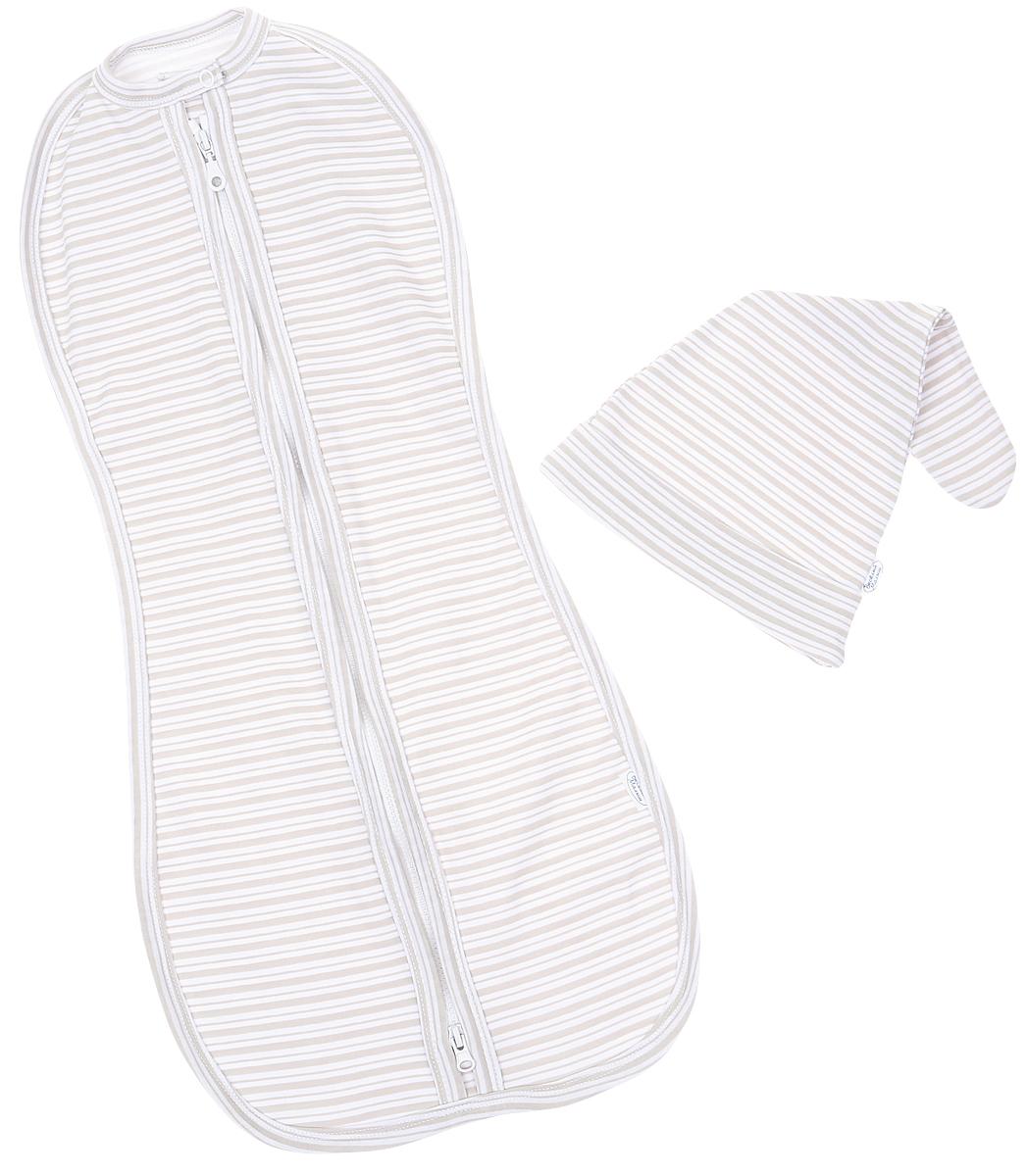 Комплект для новорожденного Веселый малыш: пеленка-кокон, шапочка, цвет: бежевый. 1178320-A/B (1)_полоски. Размер 621178320-A/B_полоски