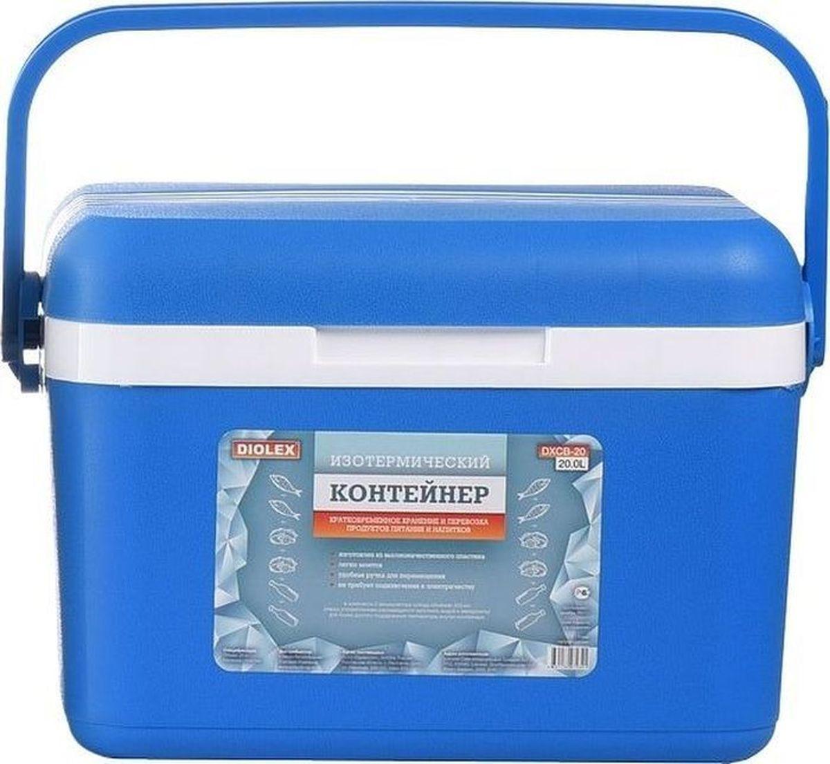 Фото - Контейнер изотермический Diolex, с 2 аккумуляторами холода, цвет: зеленый, 20 л контейнер изотермический rosenberg с аккумулятором холода цвет синий белый 8 л