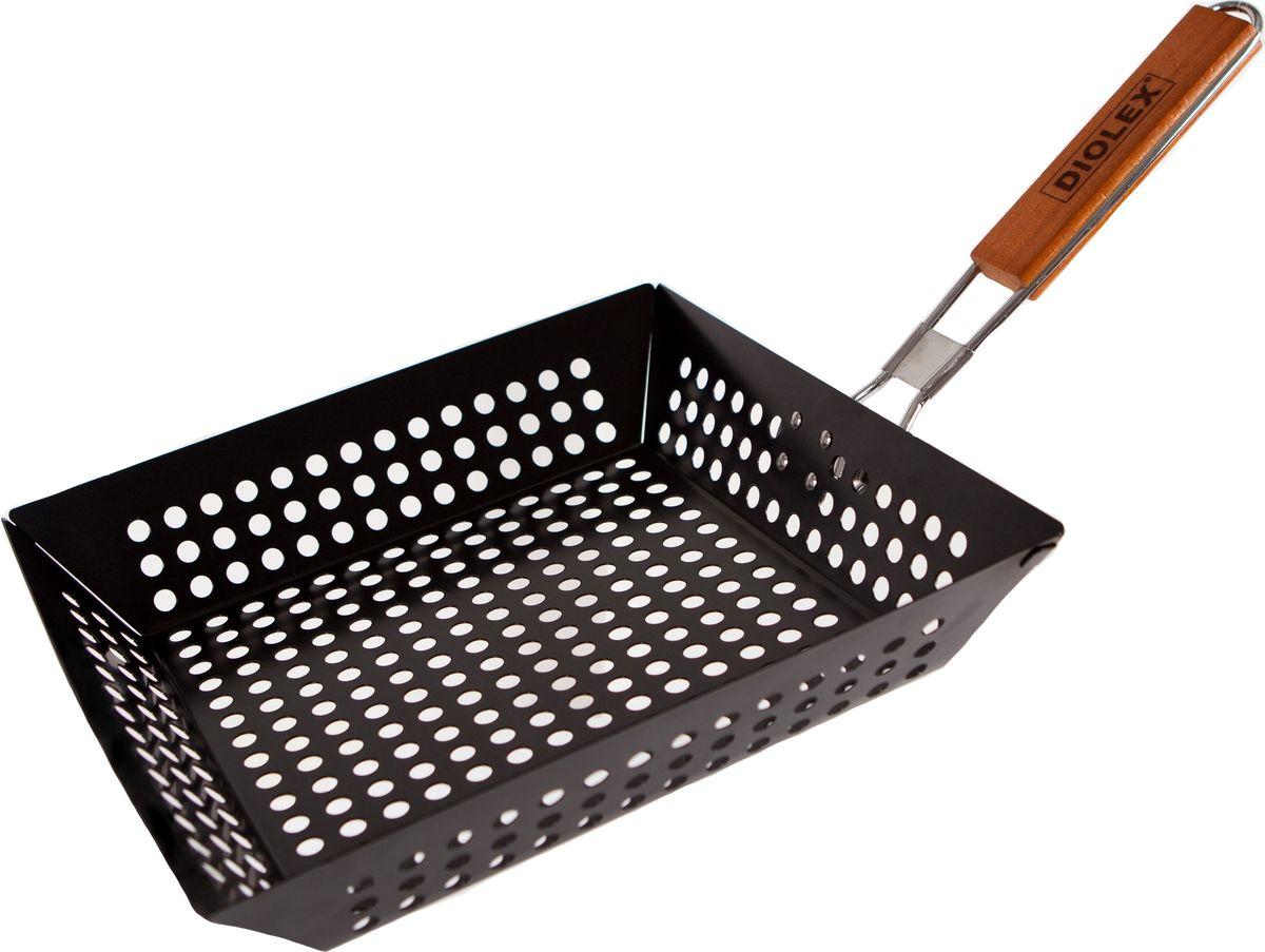 Cковорода-гриль Diolex, для барбекю, с антипригарным покрытием, цвет: черный, 29 x 28,5 смDX-P6102-2Сковорода-гриль для барбекю прямоугольная 29 x 28,5 см