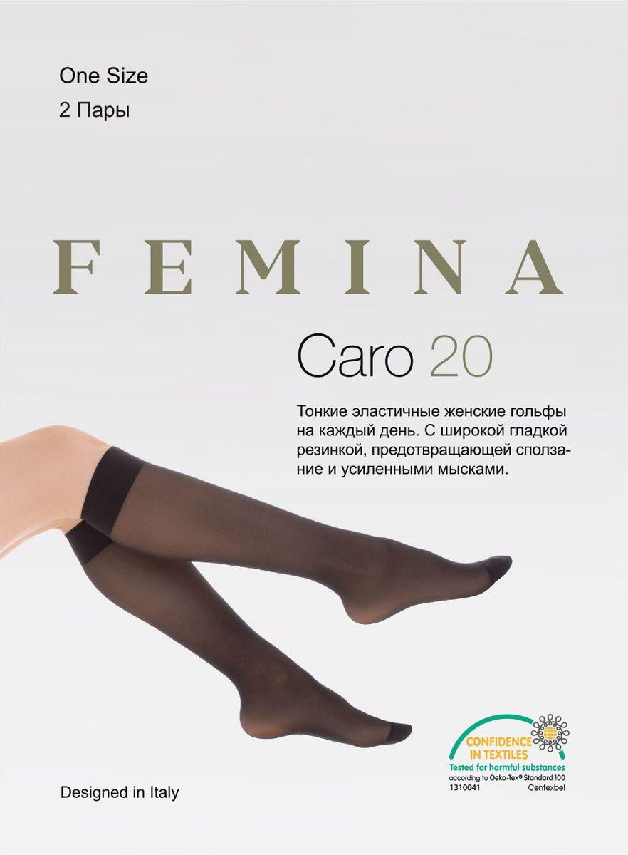 Гольфы женские Femina Caro 20, цвет: Nero (черный), 2 пары. Размер универсальный гольфы pompea гольфы vani 20