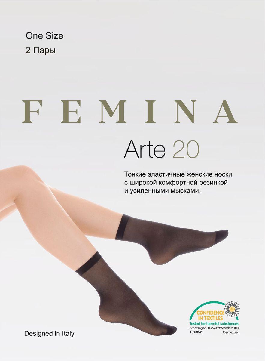 Носки женские Femina Arte 20, цвет: Nero (черный), 2 пары. Размер универсальный тонкие легинсы 2 пары quelle colors for life 763132