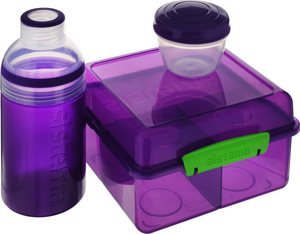 Набор Sistema Lunch: ланчбокс 2 л, контейнер 150 мл, бутылка 480 мл, цвет: фиолетовый. 41580 ланчбокс monbento gram цвет киви 600 мл