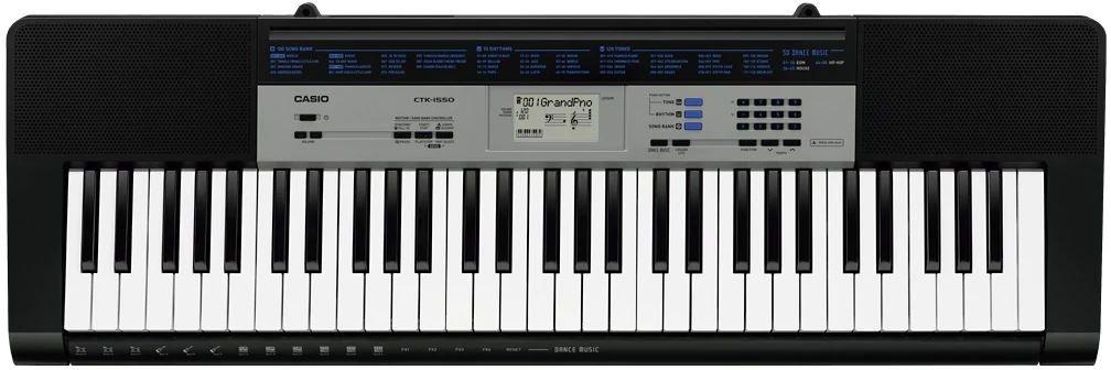 Casio CTK-1550, Black цифровой синтезатор491281Casio CTK-1550 - компактный синтезатор начального уровня с широкими возможностями от знаменитого японского производителя. Это лёгкая портативная модель, которая создана на основе предшественницы - CTK-1300.Синтезатор отличается небольшим размером и весом (всего 3,3 кг), благодаря чему его удобно брать с собой, чтобы играть в любом месте, в любое время.Возможность полностью автономной работы от батареек позволяет использовать CASIO CTK-1550 даже там, где нет доступа к электросети. При использовании 6 батарей АА 1,5 В возможно непрерывное использование в течение примерно 6 часов.Доступно 120 предустановленных тембров и 70 ритмов, плюс 50 ритмов танцевальной музыки и эффекты танцевальной музыки, банк из 100 встроенных композиций. Режим обучения Lesson Lite позволяет работать с каждой из рук по отдельности или отрабатывать игру обеими руками. Имеется авто-аккомпанемент.Синтезатор оснащён собственной встроенной акустической системой (два 10-сантиметровых динамика мощностью по 2 Вт), можно также подключиться к внешней акустической системе или прослушивать свою игру через наушники.