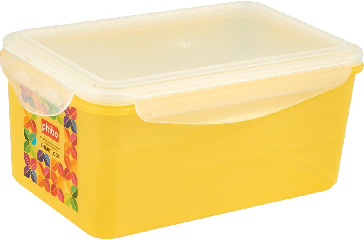 Контейнер Бытпласт Smart Lock, для холодильника и микроволновой печи, цвет: желтый, 1,6 л бытпласт ящик для игрушек на колесах 580 390 335 бытпласт зеленый