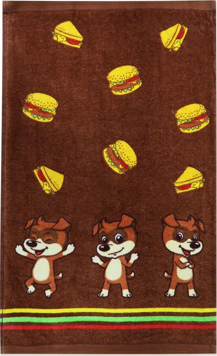 Полотенце Bravo Кухня Бургеры, цвет: коричневый, 50 х 30 см