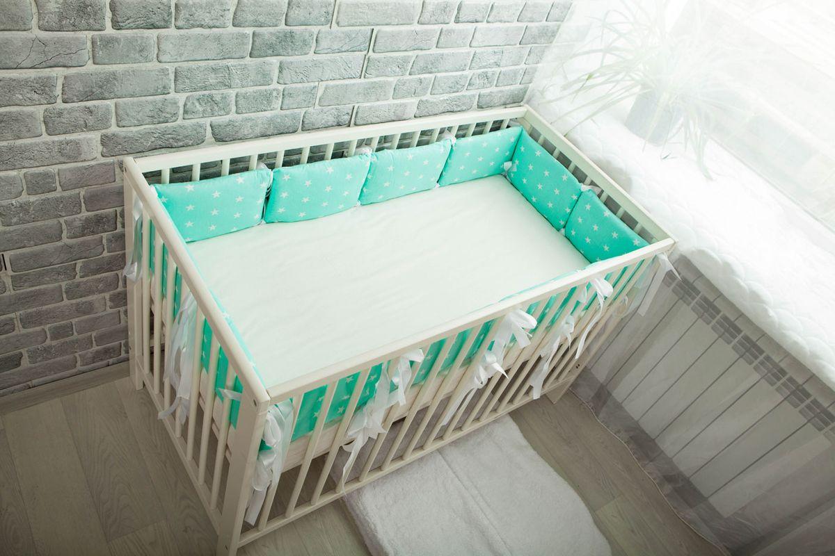 Body Pillow Бортик-подушка для кроватки Звезды цвет мятный белый 12 шт