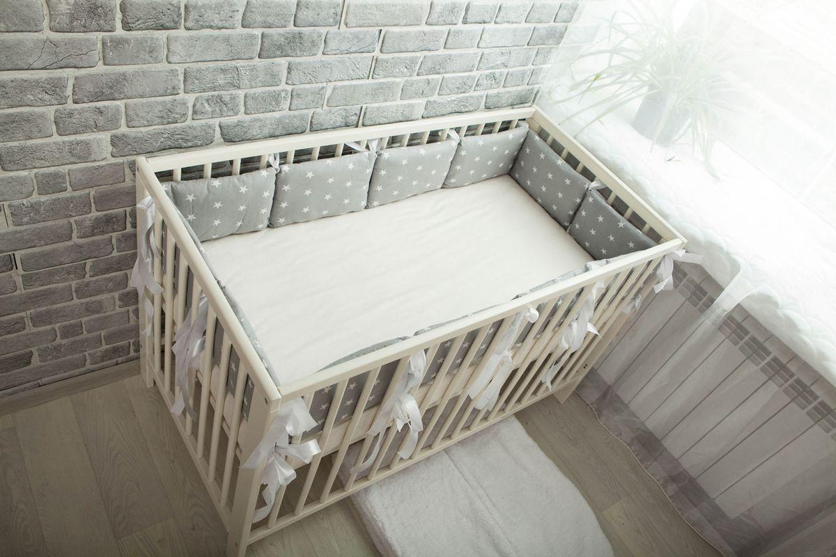 Body Pillow Бортик-подушка для кроватки Звезды цвет серый белый 12 шт