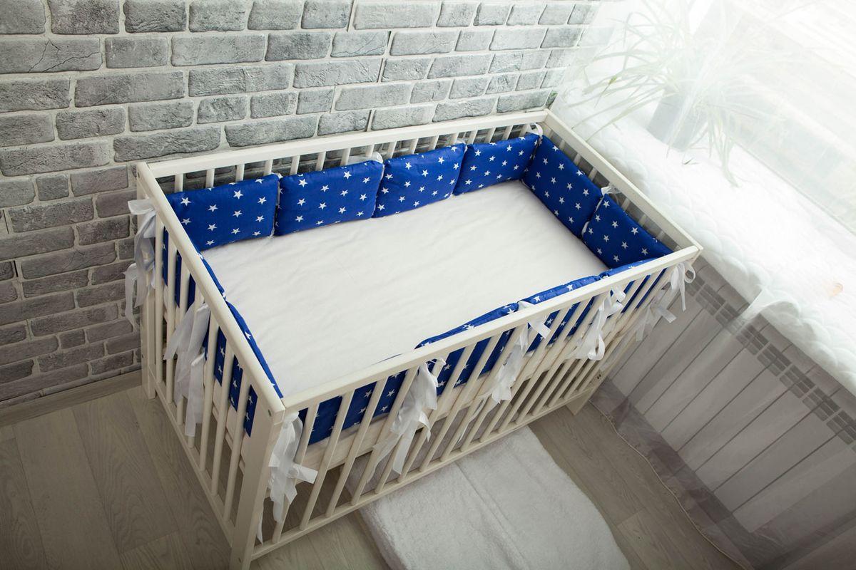Body Pillow Бортик-подушка для кроватки Звезды цвет синий белый 12 шт
