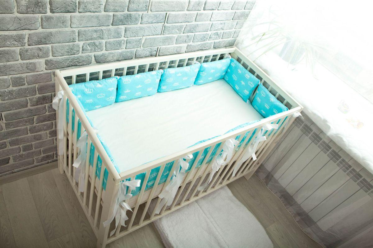 Body Pillow Бортик-подушка для кроватки Короны цвет голубой белый 12 шт