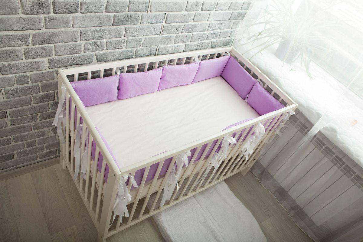 Body Pillow Бортик-подушка для кроватки цвет лавандовый 12 шт