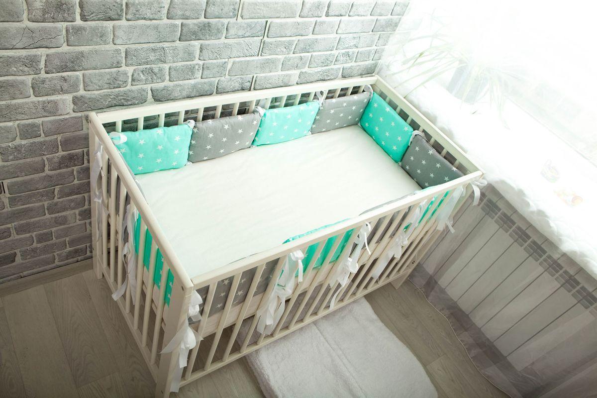 Body Pillow Бортик-подушка для кроватки Звезды Микс цвет серый мятный белый 12 шт