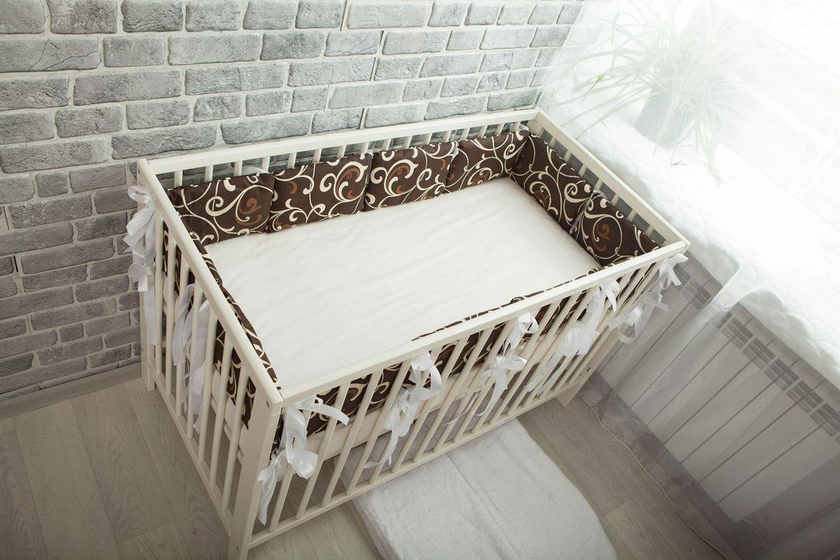 Body Pillow Бортик-подушка для кроватки цвет шоколадный 12 шт