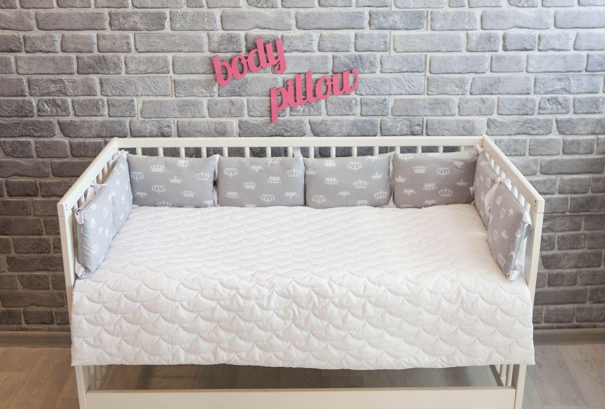 Body Pillow Бортик-подушка для кроватки Короны цвет серый белый 8 шт