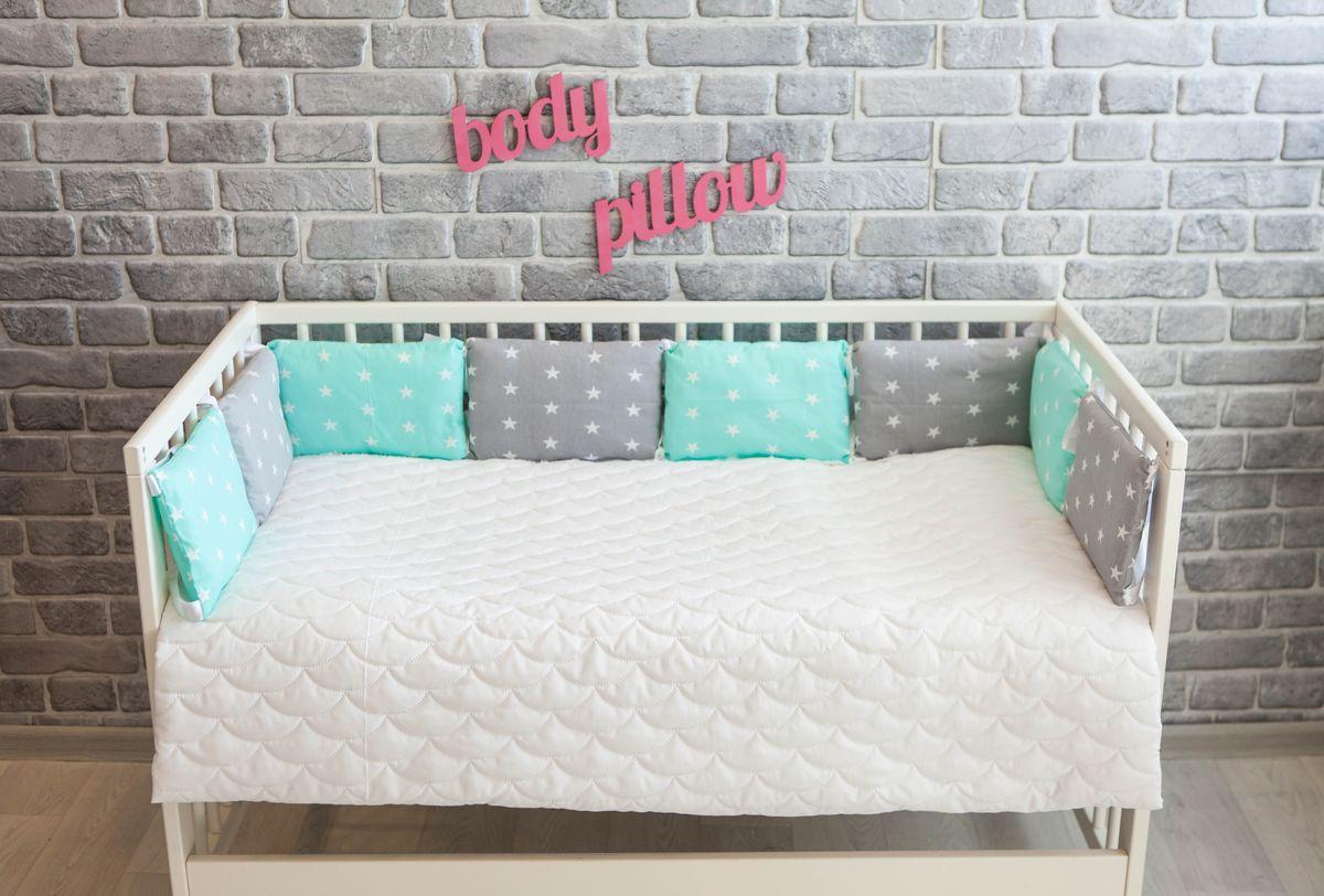 Body Pillow Бортик-подушка для кроватки Звезды Микс цвет серый мятный белый 8 шт