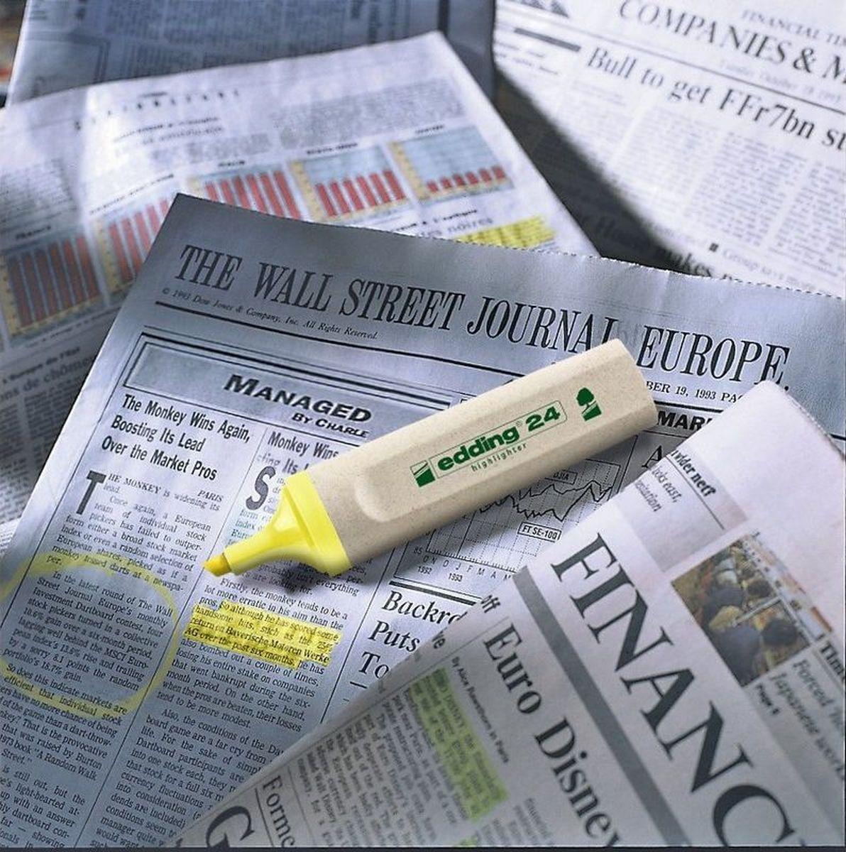Текстовыделитель Edding серии Эко, предназначенный для маркировки текста наразличных типах бумаги. Эргономичный корпус выполнен изпластика. Скошенный наконечник обеспечивает толщину линии от2до5мм. Флуоресцентные чернила желтого цвета наводной основе нетоксичны, несодержат вредных веществ, устойчивы квоздействию света. Изделие на97% изготовлено изпереработанного сырья без вреда для окружающей среды.