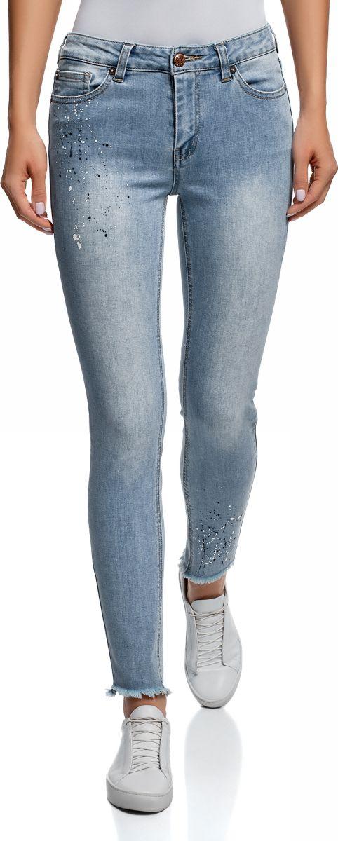Джинсы женские oodji Ultra, цвет: голубой джинс. 12104076/47546/7000W. Размер 25-32 (40-32) джинсы женские oodji ultra цвет синий джинс 12103151 1 45379 7500w размер 27 32 44 32