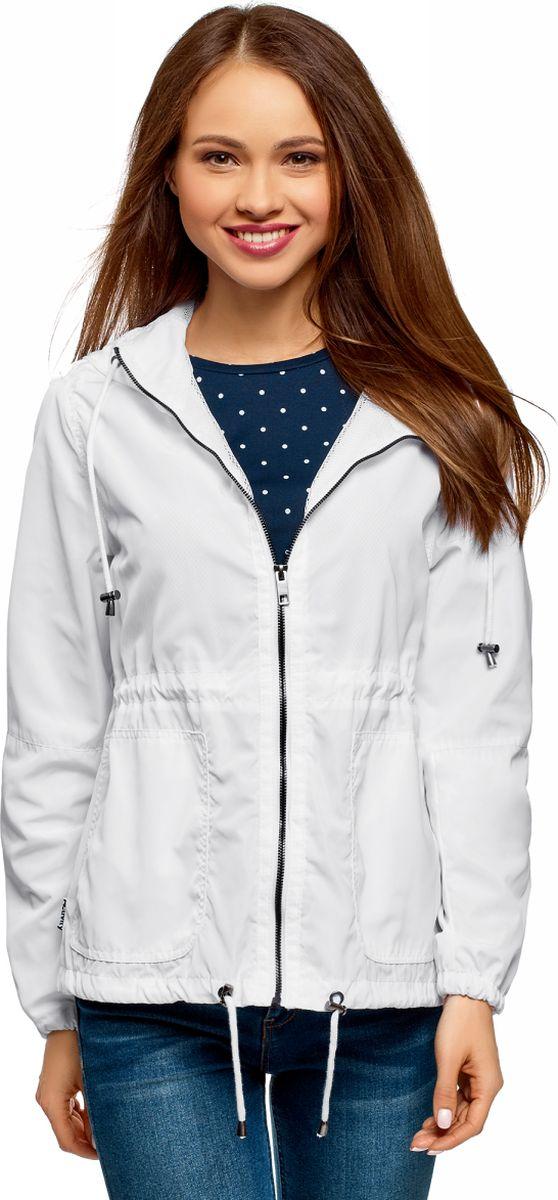 Куртка женская oodji Ultra, цвет: белый. 10303058/24058/1000N. Размер 34 (40-170) пояс широкий с завязками