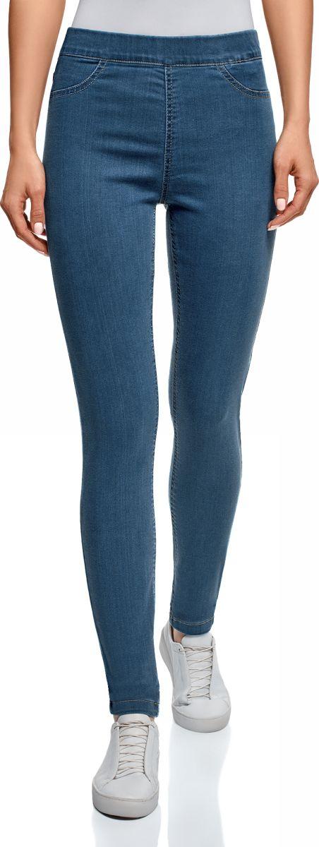Леггинсы женские oodji Ultra, цвет: синий джинс. 12104043-6B/47828/7500W. Размер 27-32 (44-32)