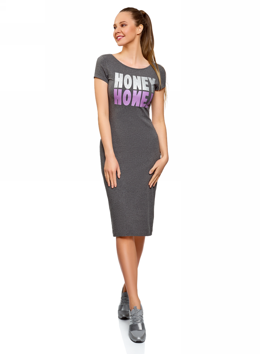 Платье oodji Collection, цвет: темно-серый. 24001104-10/47420/2519Z. Размер S (44) платье oodji collection цвет черный белый 24001104 1 35477 1079s размер l 48