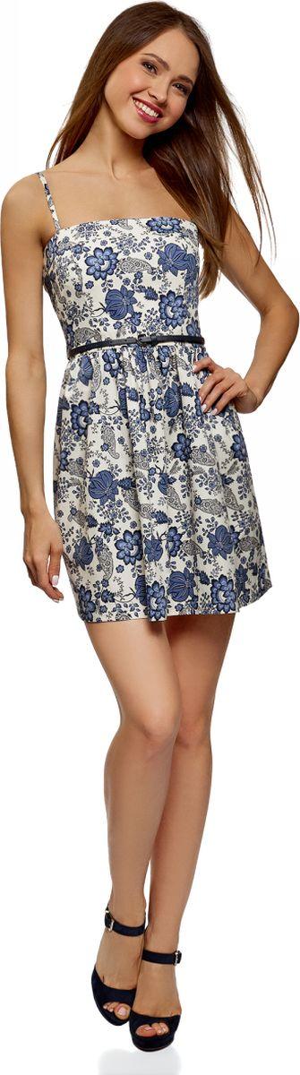 Платье oodji Ultra, цвет: бежевый, синий. 11902101-6B/14885/3375F. Размер 44 (50-170) oodji 11902101 4 14912 1245e