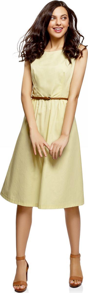 Купить Платье oodji Ultra, цвет: желтый. 12C13008-1/46683/5200N. Размер 34 (40-170)