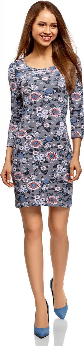 Платье oodji Ultra, цвет: темно-серый. 14001193/47420/2575F. Размер L (48)14001193/47420/2575FСтильное платье oodji, выполненное из хлопка с добавлением эластана, отлично дополнит ваш гардероб. Модель длины мини с круглым вырезом горловины и рукавами 3/4 оформлена принтом. Модель дополнена вырезом-капелькой на спине.