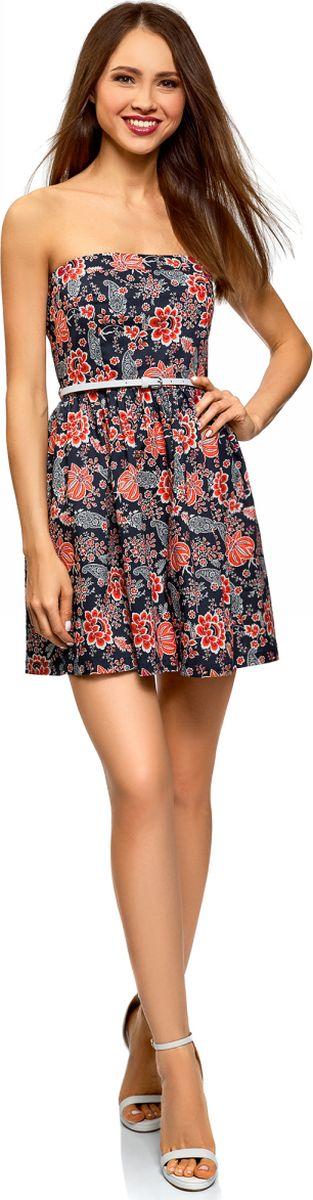Платье oodji Ultra, цвет: темно-синий, красный. 11902101-6B/14885/7945F. Размер 44 (50-170) oodji 11902101 4 14912 1245e
