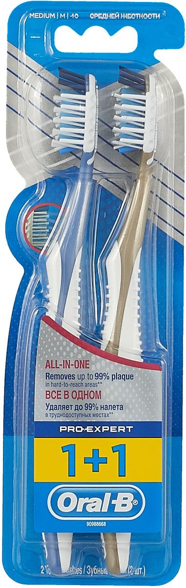 Oral-B Зубная щетка ProExpert Все в одном, 40 средняя, 1+1 шт, цвет: синий, золотистый oral b oral b детская зубная щетка oral b db4 на батарейках 1 шт