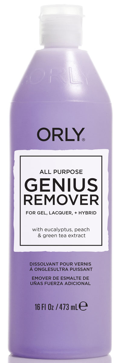 Orly Жидкость для удаления гель-лаков и лаков с ухаживающим эффектом Genius All Purpose Remover, 473 мл23114Универсальная жидкость для снятия лака, геля и блёсток любого размера.