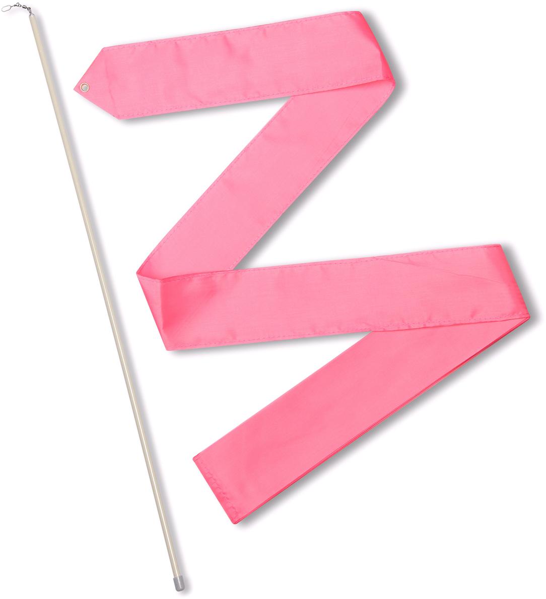 """Лента гимнастическая """"Indigo"""", с палочкой и карабином, цвет: розовый, длина 6 м"""