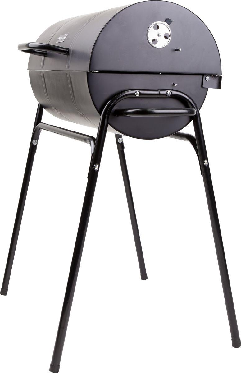 """Большой бочкообразный гриль-барбекю GoGarden """"Fiesta 62"""" - лучшее решение для дачи или загородного дома. На нем вы без проблем приготовите вкусное мясо, рыбу или овощи на всю семью  или большую компанию сразу! Данный гриль-барбекю можно использовать круглый год: он неприхотлив, мобилен и удобен в использовании. Благодаря двум регуляторам подачи воздуха  настроить температуру для приготовления мяса, рыбы или овощей получиться наилучшим образом!  Дополнительная внутренняя хромированная решетка помогает сортировать уже готовую пищу или разогревать ее в щадящем режиме.   - Устойчивый каркас; - Корпус с антикоррозийным и антипригарным покрытием; - Крышка гриля-барбекю закреплена на петлях и снабжена ограничителем открывания; - Закрыв крышку, можно немного притушить мясо, а также избежать опасности возникновения открытого огня; - Дополнительная складывающаяся хромированная решетка для разогрева готовой пищи; - Хромированная грилевая решетка и решетка для углей; - Полая ручка на крышке в виде скобы - не нагревается во время работы гриля-барбекю; - Две специальные ручки позволяют вытаскивать грилевую решетку целиком для выкладывания или снятия готовой пищи; - Удобные ручки для переноски по бокам гриля; - Инструкция по сборке и эксплуатации.  - размер жаровни, см: 61,5 x 31; - размер грилевой решетки, см: 58 x 27; - размер гриля в собранном виде, см: 80 x 49 x 105; - вес, кг: 8,1."""