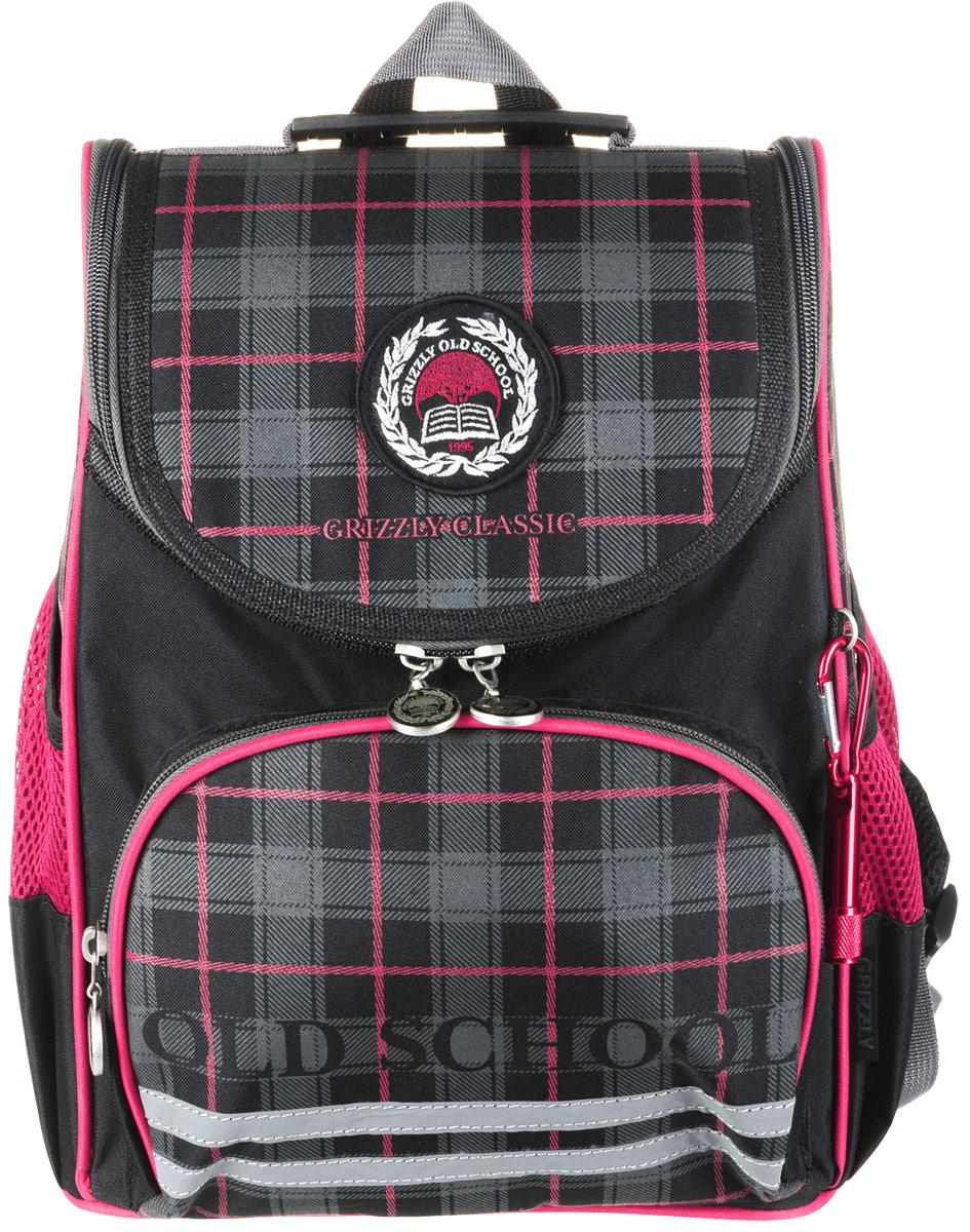 Grizzly Рюкзак школьный с мешком цвет черный красный RA-878-1 grizzly рюкзак школьный с мешком цвет розовый ra 879 8