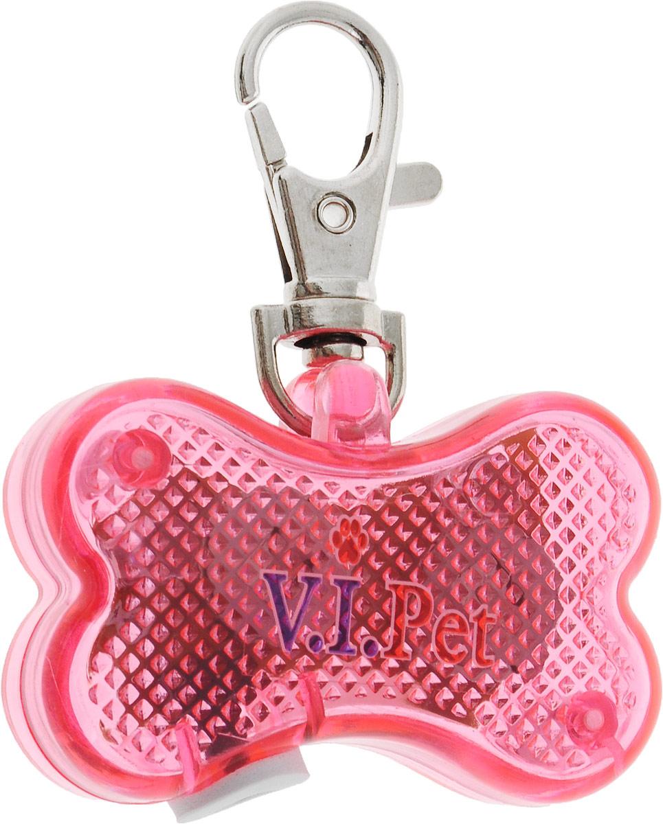 Маячок-адресник на ошейник V.I.Pet Косточка, цвет: розовый адресник жетон косточка малая красная