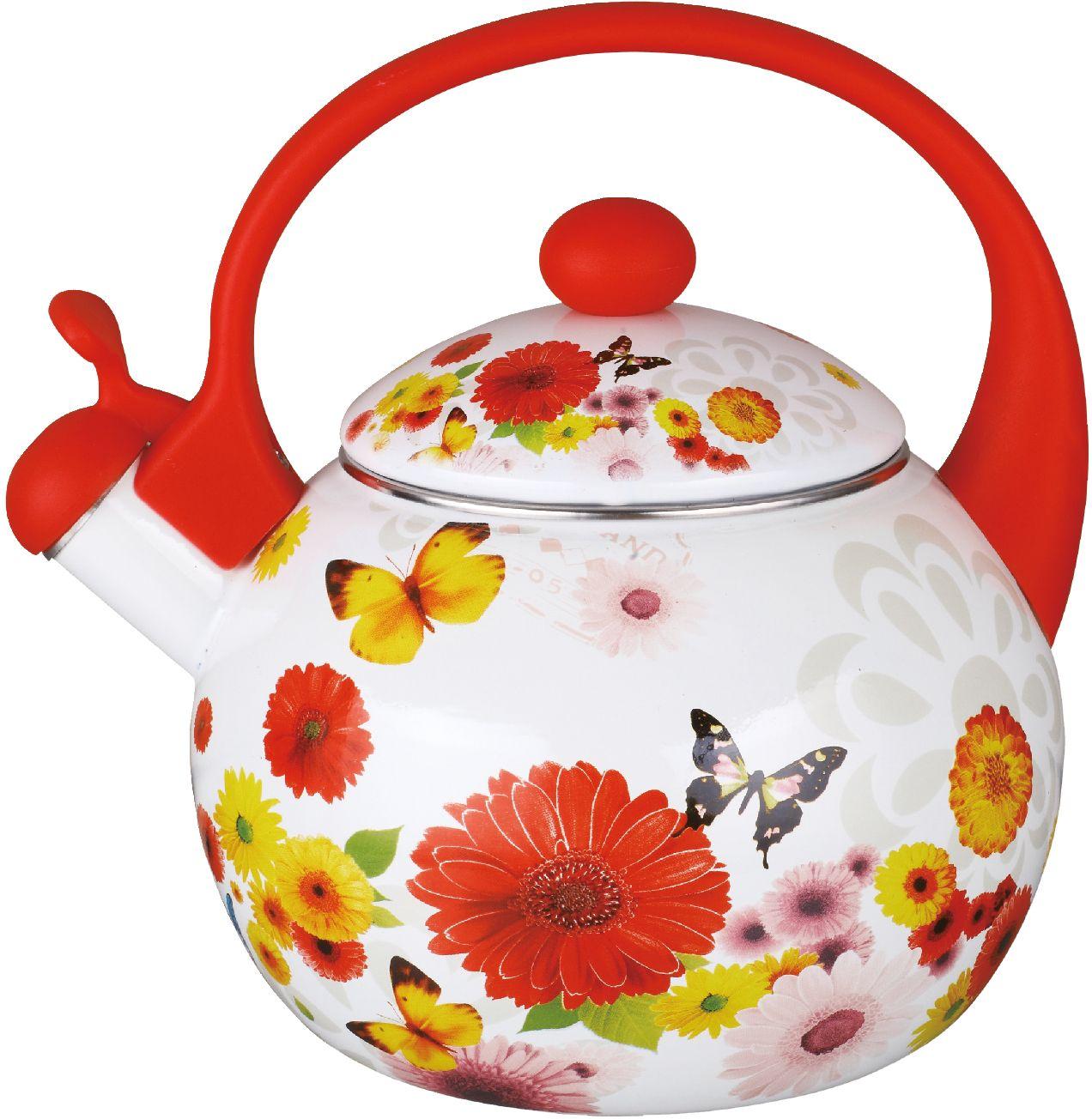 Чайник эмалированный Чудесница, со свистком, 2,5 л. ЭЧ-2506 чайники для плиты vetta чайник эмалированный