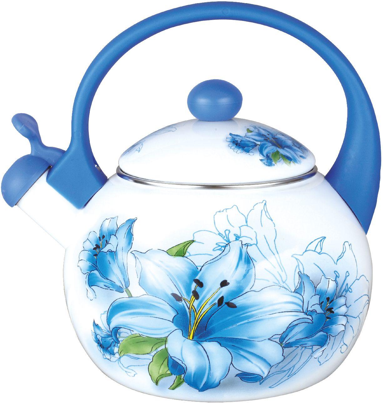 Чайник эмалированный Чудесница, со свистком, 2,5 л. ЭЧ-2511 чайники для плиты vetta чайник эмалированный