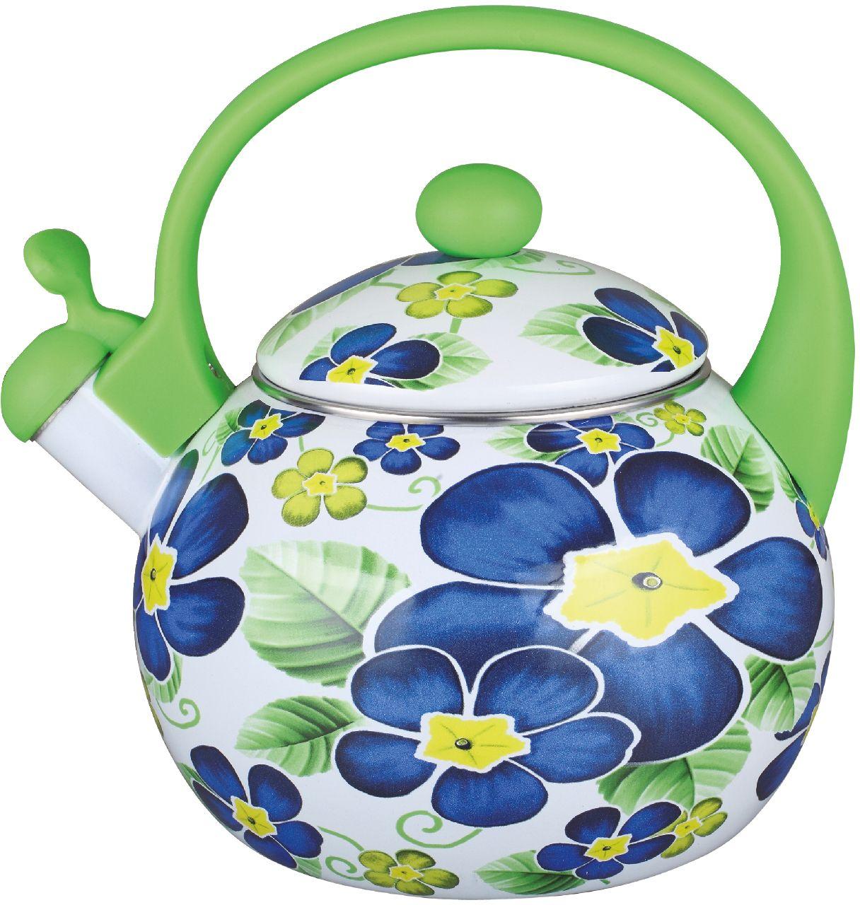 Чайник эмалированный Чудесница, со свистком, 2,5 л. ЭЧ-2514 чайники для плиты vetta чайник эмалированный