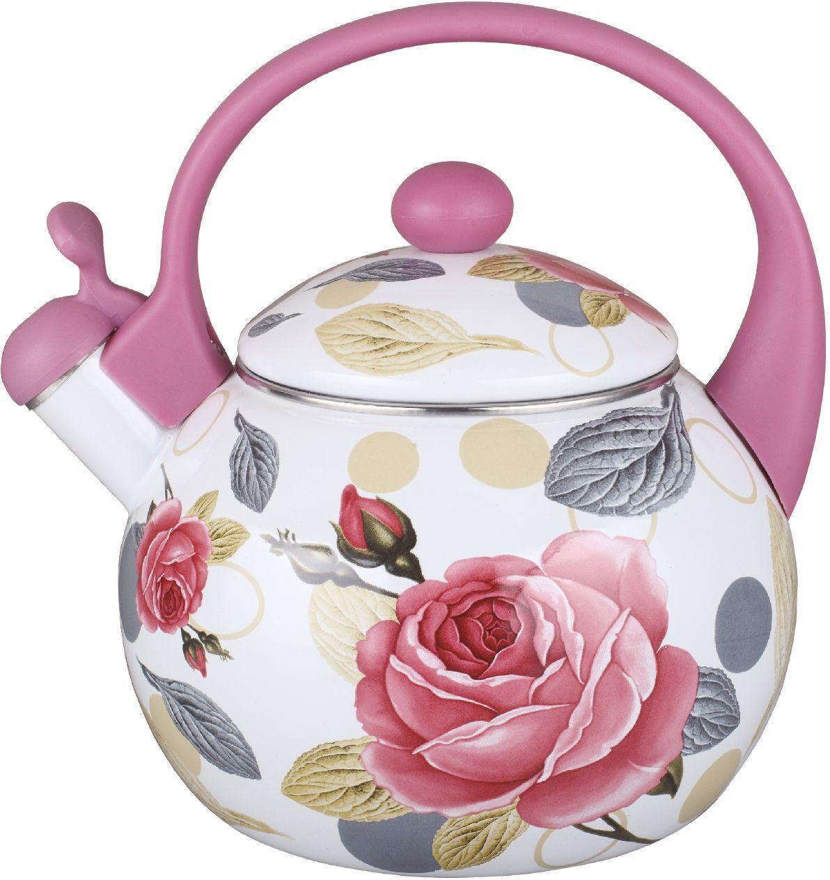 Чайник эмалированный Чудесница, со свистком, 2,5 л. ЭЧ-2517 чайники для плиты vetta чайник эмалированный