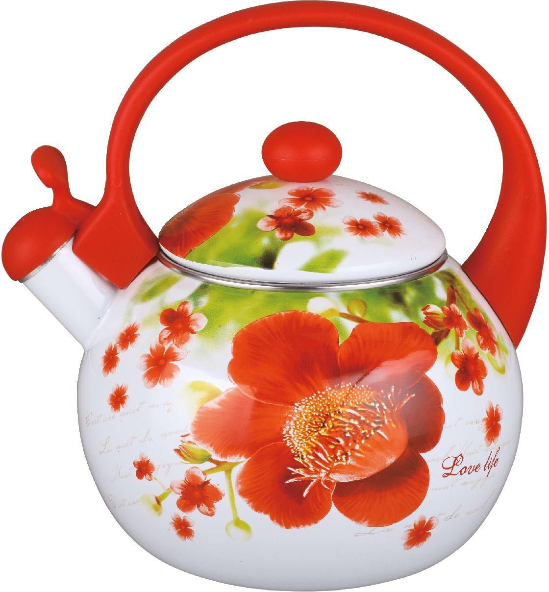 Чайник эмалированный Чудесница, со свистком, 2,5 л. ЭЧ-2518 чайники для плиты vetta чайник эмалированный