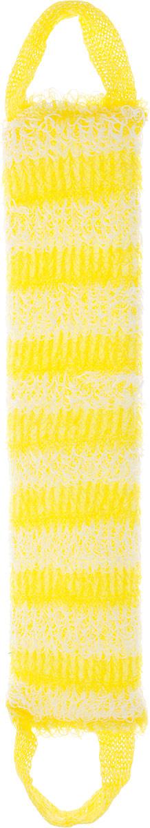 Мочалка Eva Букле. Полосы, вязаная, с ручками, цвет: желтый, белый. М391 мочалка eva с петлей