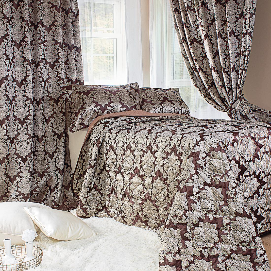 Комплект для спальни Мадмуазель Бато Лавуар: покрывало 240 х 260 см, 2 наволочки 50 х 70 см, шторы на ленте 270 х 170 см, цвет: темный шоколад портьеры алор к голубой