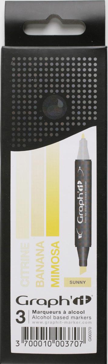 Graph'It Набор маркеров Sunny цвет оттенки желтого 3 шт -  Маркеры