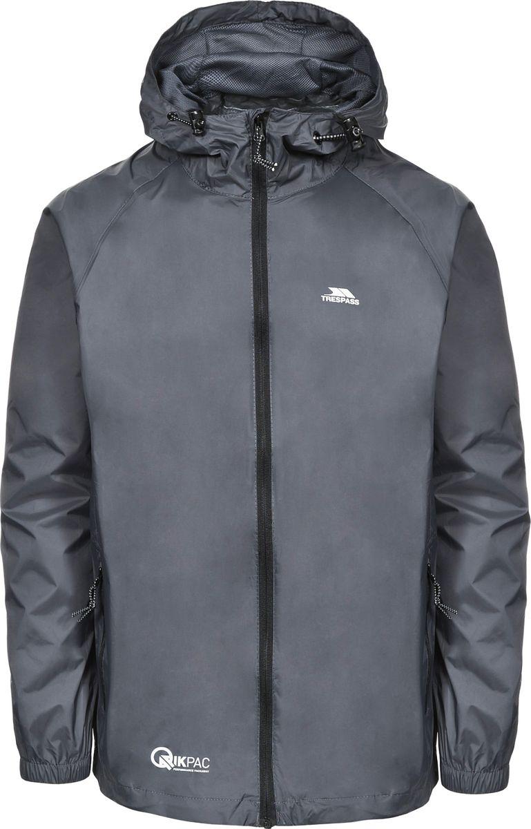 цены на Дождевик мужской Trespass Qikpac_Jacket, цвет: темно-серый. UAJKRAI10001. Размер M (50) в интернет-магазинах