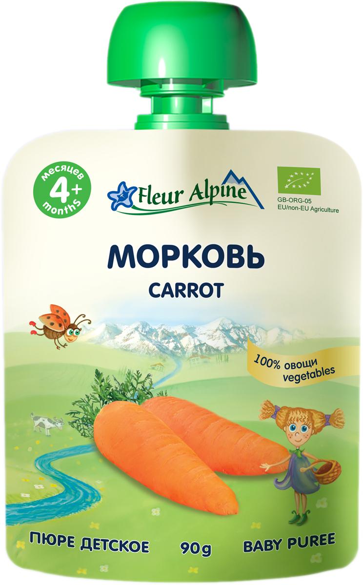 Флёр Альпин Органик пюре морковь с 4 месяцев, 90 г флёр альпин органик пюре яблоко черника 5 мес 90 г