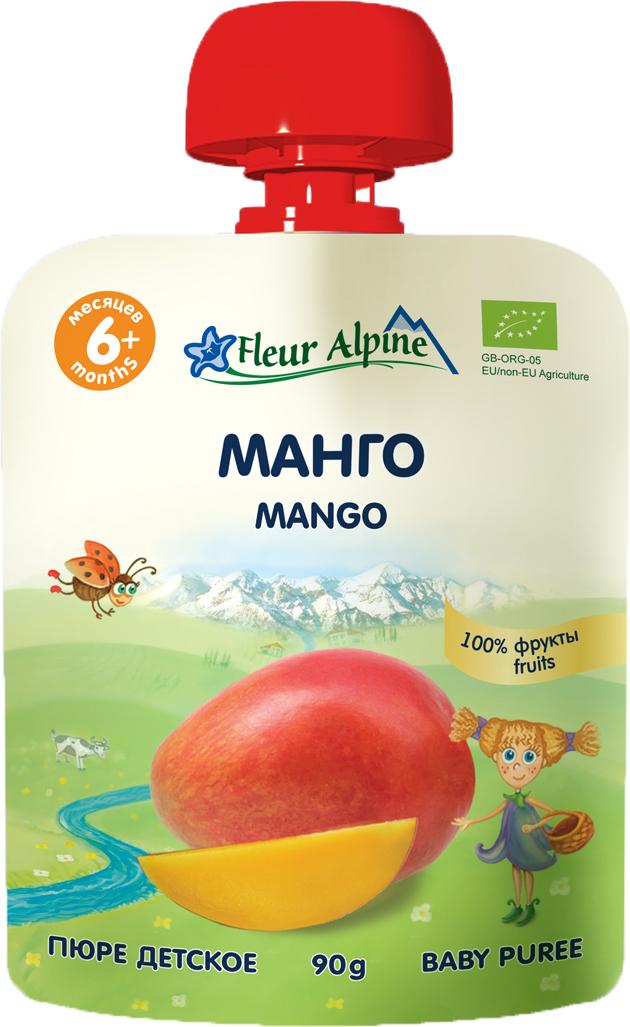 Флёр Альпин Органик пюре манго, 6 мес., 90г пюре gerber пюре спелое манго 90г