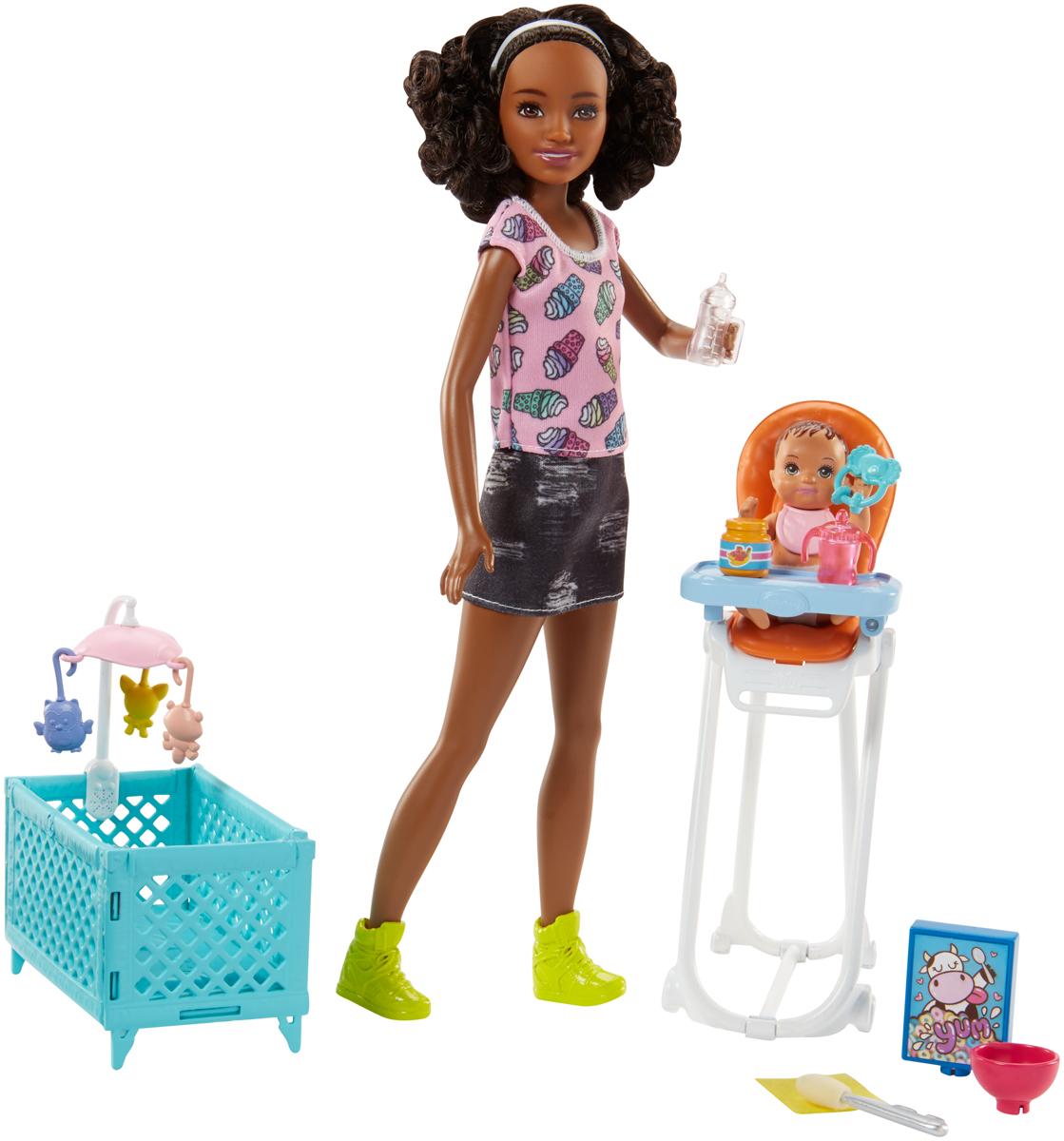 Barbie Игровой набор с куклой Няня FHY99 barbie игровой набор космический замок dpb51