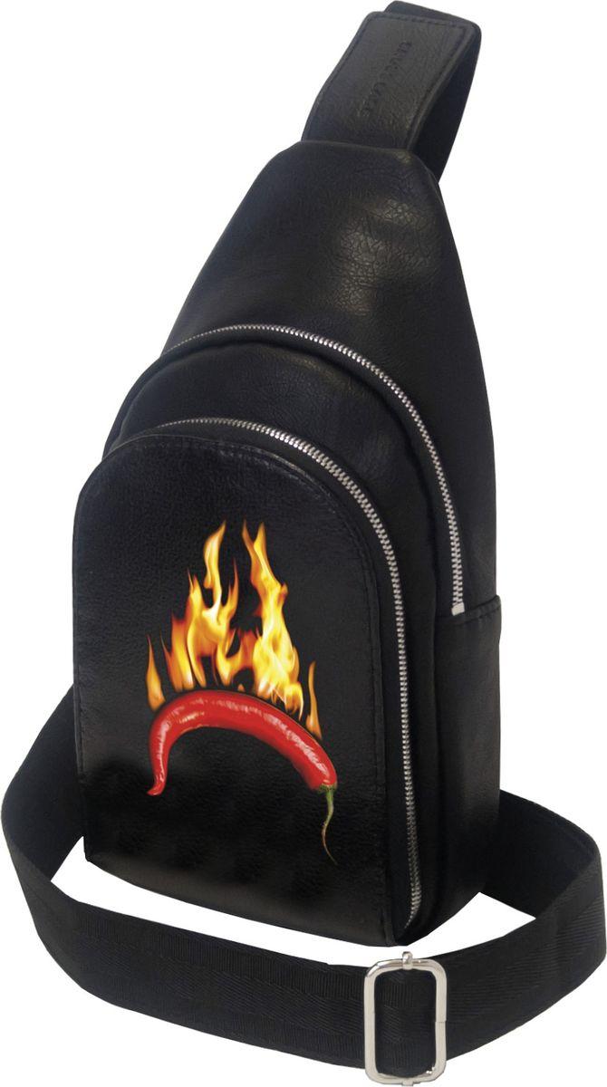 """Мини-рюкзак Cross Case с рисунком """"перец"""" имеет одно основное отделение на молнии 22 х 16 см, внутренний карман 15 х 14 см. Наружный карман на молнии 14 х 20,5 см, одну наплечную лямку для переноски. Удобный и стильный однолямочный мини-рюкзак изготовлен из мягкой экокожи, на вид и на ощупь практически не отличимой от натуральной кожи, хромированная стальная фурнитура гарантирует надежность и прочность застежек и креплений, а также придает мини-рюкзаку элегантный вид. Рисунок на рюкзаке нанесён по специальной нанотехнологии краской, устойчивой к истиранию и воздействиям окружающей среды."""