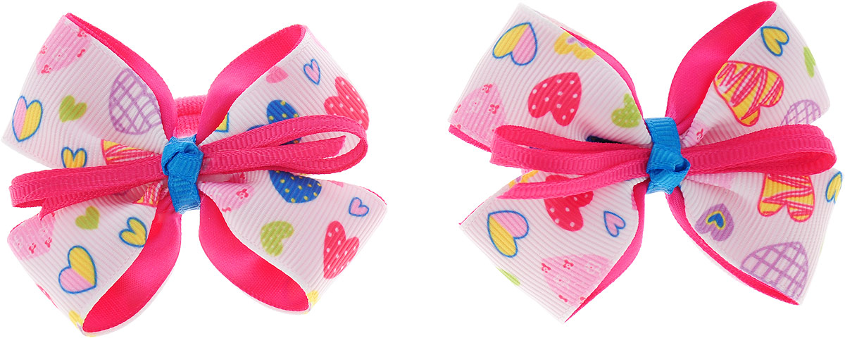 Baby's Joy Резинка для волос Бант 2 шт MN 137/2_белый, ярко-розовый baby s joy резинка для волос цвет красный белый розовый 2 шт