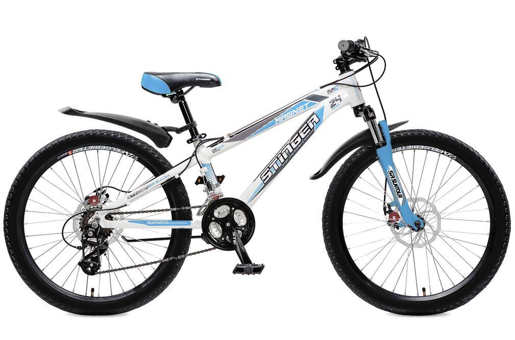 Велосипед горный Stinger Magnet, цвет: белый, 24, рама 12