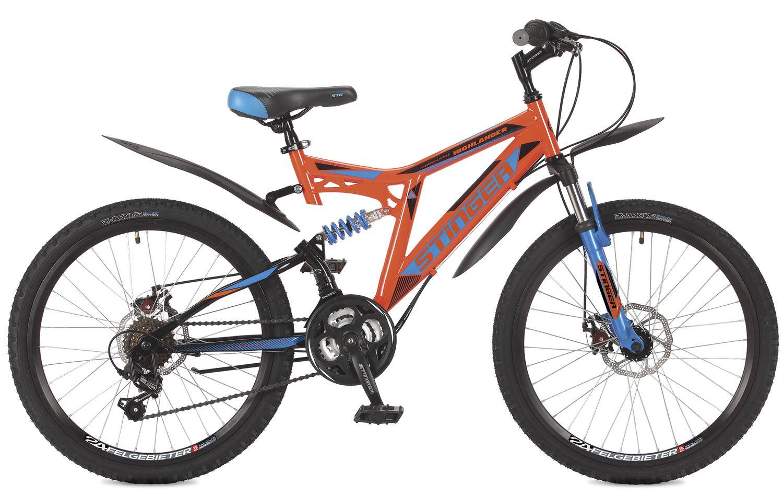 Велосипед горный Stinger Highlander 100D, цвет: оранжевый, 24, рама 16.5